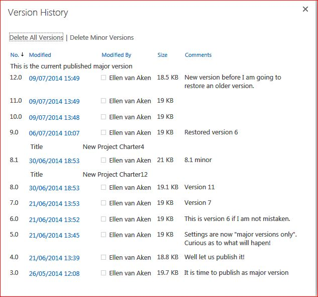 This is the version history before I will restore version 10.0 as the current version.