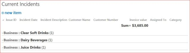 Homepage View for CRM: overview of number of open incidents and amount of money involved.